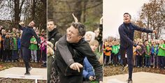 """Yesterday October 31,2014 - When Crown Prince Frederik attened the new school sports project , he was challenged to shot put duel by none other than Olympic medalist Joachim B. Olsen. And to the children's big delight the """"always active"""" Frederik was completely fresh for the idea Although Frederick  putting tactics and mushel  his throws was much shorter - but still far enough so that one of the many press photographers had to jump a little to the side"""