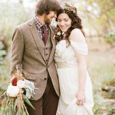 Handmade Fall Barn Wedding- Love her dress and his suit