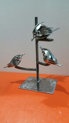 Momma n Littles birds spoon n fork Archetype metal creations
