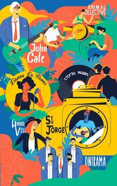 Summer Nostos Festival 2018 on Behance - illustration character Illustration Design Graphique, Flat Illustration, Digital Illustration, Graphic Design Posters, Graphic Design Inspiration, Event Poster Design, Musikfestival Poster, Ms Project, Festival Posters