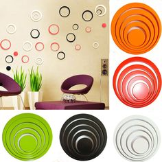 1 Set color Indoors bathroom home Decoration Circles Creative Stereo Removable 3D DIY Wall Stickers