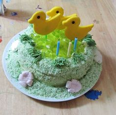 Duck pond kids birthday cake