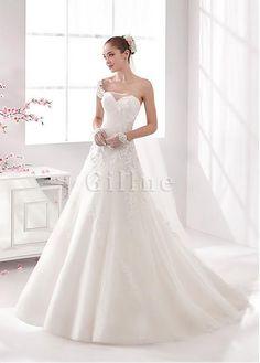 Robe de mariée ligne a avec perle appliques d'épaule asymétrique séduisant