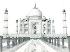 Ausmalen als Anti-Stress Indien : Taj Mahal 3 Landscape Pencil Drawings, Pencil Drawings Of Flowers, Pencil Sketch Drawing, Landscape Sketch, Pencil Art Drawings, Drawing Ideas, Taj Mahal Sketch, Taj Mahal Drawing, Acrylic Painting For Beginners