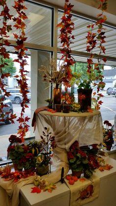 Fall Window Display-Verona Autumn Displays, Verona, Decorating Ideas, Window, Christmas Tree, Seasons, Table Decorations, Holiday Decor, Fall