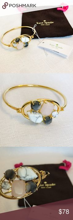 """New Kate Spade Blushing Bracelet!! I love pieces like this. 😍 Elegant enough to wear on a formal occasion and lovely to add sophistication to any casual outfit.  Not overpowering but says here I am. Shiny 12 karat gold plated metal with semiprecious, epoxy and reconstituted stones.   It has a clip closure and weighs 16.3 grams.  Total circumference is 2.25"""".  Dust bag included. kate spade Jewelry Bracelets"""