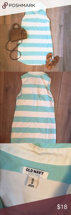 A q u a   S t r i p e d   B u t t on   D r e s s Aqua and white striped button down dress. Perfect summer dress! Sold one very similar on here just didn't have buttons. In excellent condition. Worn maybe twice. Old Navy Dresses Midi