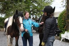 Amanda and Vladdy with their mounts for the trek. Wild Atlantic Way, Trek, Riding Helmets, Amanda, Castle, Horses, Animals, Animaux, Horse