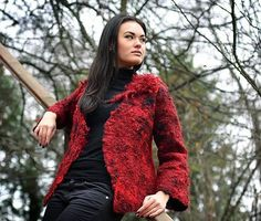 SALE 30% OFF  - Fall / Winter 2012 Collection - Red nuno felted one of a kind long sleeve wool jacket with merino and silk yarn