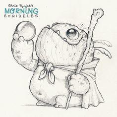Cute monster art by CHRIS RYNIAK, A quest! #morningscribbles
