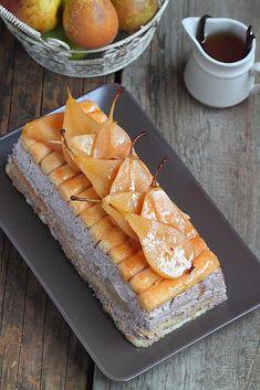 Tiramisu crème stracciatella et poires pochées