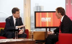 Britain's deputy prime minister and Liberal Democrats party leader Nick Clegg, left, speaks with the BBC's Andrew Marr at a television studio in Glasgow, Scotland, Sunday. Clegg says he will block any attempt to make foreign visitors routinely pay a security deposit to come to the U.K., an idea that has spurred outrage in countries including India and Nigeria. ■ Photo: Danny Lawson (AP)