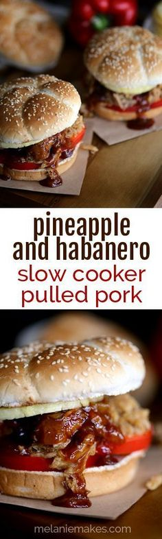 It takes just five minutes and three ingredients to create this sweet and spicy Pineapple and Habanero Slow Cooker Pulled Pork. It's then piled high on a toasted bun and sandwiched between slices of red pepper and fresh pineapple before a pineapple haban Crock Pot Slow Cooker, Crock Pot Cooking, Slow Cooker Recipes, Crockpot Recipes, Cooking Recipes, Habanero Recipes, Spicy Recipes, Pork Recipes, Pineapple Habanero Sauce