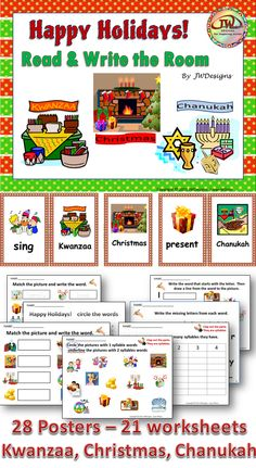 Happy Holidays Read and Write the Room is an ELA pack that covers Kwanzaa, Christmas and Hanukkah (Chanukah).  54 pages in all. Great teaching tool to add to your holiday curriculum.  CCSS aligned.  Tiered in difficulty, it is appropriate for Pre-K through 3rd grade and homeschoolers.