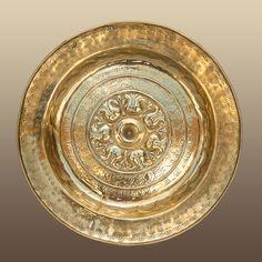 16th century Nuremberg brass alms dish, Marhamchurch antiques