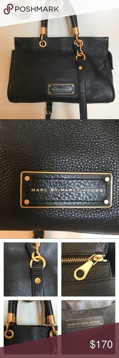 """MARC by MARC JACOBS - Too Hot To Handle Satchel Excellent condition MARC by Marc Jacobs black Too Hot To Handle Satchel. Features interior pocket and gold-tone hardware. Has adjustable crossbody strap and satchel handles so it may be worn either way. Zip top and protective feet at the bottom. A couple of marks on the hardware where handles connect -very minimal as shown in photos. Size is 12"""" x 8 1/2"""" x 5 1/2"""". Perfect size for an everyday bag! Comes with Marc Jacobs care card. I cannot find…"""