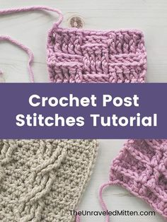Crochet Post Stitches are used to create texture on your crochet project. Use them on ribbing for a hat, blanket border and more. They are also featured in stitches such as the basket weave stitch, waffle stitch, alpine stitch and crochet cables. Check out this photo and video tutorial and learn these textured crochet stitches once and for all. Crochet Cable, Crochet Lace Edging, Crochet Cross, Crochet Squares, Crochet Sweaters, Crochet Borders, Filet Crochet, Different Crochet Stitches, Crochet Stitches Patterns