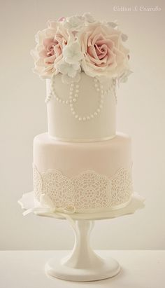 Wonder can you buy this lacy stuff to add on?! Quite effective on pale coloured icing with flowers!