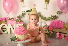 Cake smash Photography Campbelltown, Sydney. Whimsical vintage garden cake smash by Cotton Cloud Photography