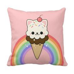 Cute Kitty Ice Cream Throw Pillows #kawaii #cute