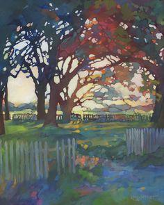 KMSchmidt 20x16 Ltd Ed Landscape ART PRINT craftsman style daybreak OAK TREES #Impressionism