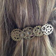 Check This Out!!! Only $17.00 and just now listed. WOOT!! Steampunk Barrette Steampunk Bride NonTraditional Wedding Punk Industrial Hair Accessory Victorian Hair Accessory Large Barrette Hair Clip by PunkysRooster on Etsy