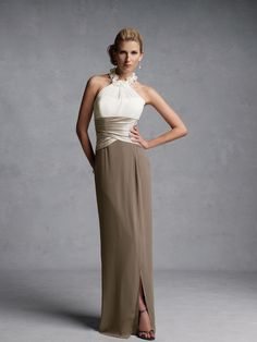 2014 New Style Sheath/Column Halter Chiffon Brown Long Prom Dresses/Evening Dress With Ruffles #USALF328