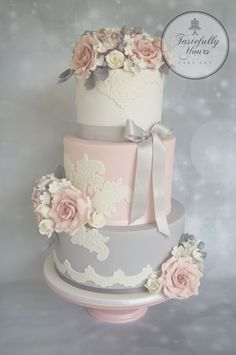 Pink, white and grey wedding cake.