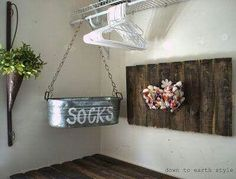 Great idea for all those mystery socks you find in the laundry room. Just add a hanging tub!