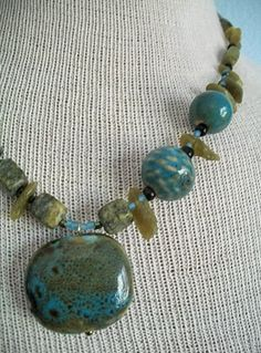 Olive Green Necklace Asymmetrical Porcelain and Stone Statement Necklace Ships Free