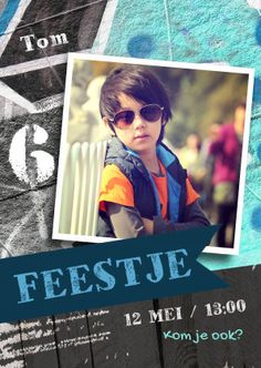 Stoere graffiti kaart, uitnodiging voor feestje van een jongen - Uitnodigingen - Te vinden op: www.kaartje2go.nl/uitnodigingen