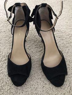2324ecc0804 Ann Taylor Black Peep-Toe Heels With Bow Embellishment-Size 9  fashion