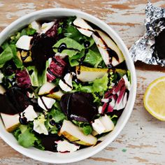 Salad of roasted beet, pear, and mozzarella, you have to try it's delicious... (recipe in Polish with translator)