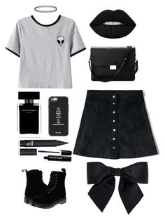 """Day Look 144 Grunge 90's Style Skirt Alien Shirt Outfit"" by fashion-by-katrine on Polyvore featuring Chicnova Fashion, Abercrombie & Fitch, Dr. Martens, Aspinal of London, Lime Crime, Narciso Rodriguez, Chanel and Marc Jacobs"
