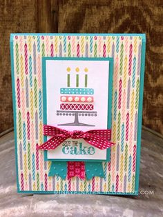 InkyPinkies: Seize the Cake! Birthday card with Embellished Events & Something to Say from Stampin' Up!