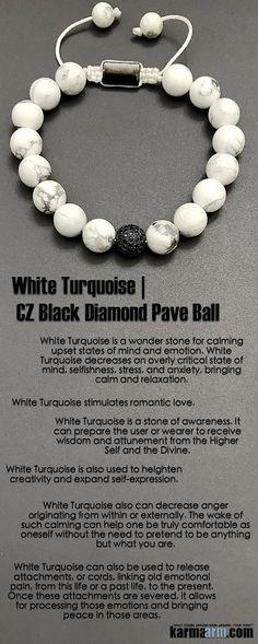 #White #Turquoise is a stone of awareness. It can prepare the wearer to receive #wisdom. It also stimulates #romantic #love. #Black #Diamond #Pave #Ball #Macrame #Crown  #Chakra #Beaded #giftsforhim #Yoga #Bracelet #Bracelets #Crystals #Energy #gifts #Handmade #Healing #Jewelry #Kundalini #Law #Attraction #LOA#Love #Mala #Meditation #Mens #prayer #Reiki #Stretch #Womens #mindfulness #fertility #wisdom #Lucky #Spiritual #Buddhist #Charm