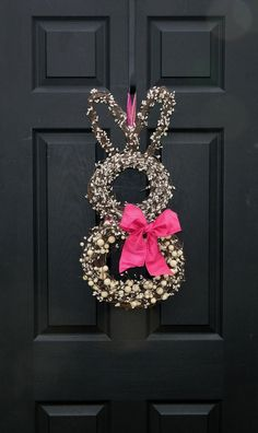 Easter bunny wreath - two round wreaths and a heart shaped one for ears