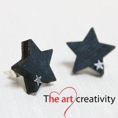 Orecchini in legno a stella. #orecchini #stelle #legno #orecchinialobo #MissHobby #lotrovisuMissHobby