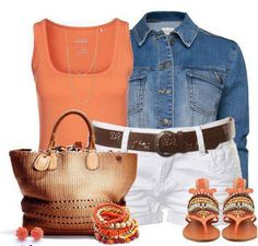 Coral is one of my favorite colors. It is paired with a denim jacket and white shorts. Love the look!