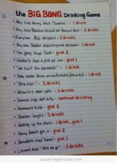 Big Bang Theory Drinking Game alwclimbs