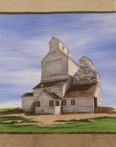 Saskatchewan Elevators by Martha Cole Canadian History, Canadian Art, Field Of Dreams, Landscape Quilts, Old Farm, Farm Yard, Wishing Well, Canada Travel, Artist Art