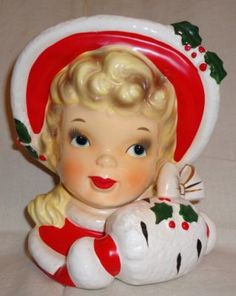 Vintage Lefton Christmas Girl  Head Vase Planter