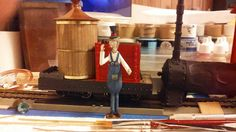 Gn15 Locomotive. Made from a On30 Bachmann 2-6-0. Not finished at all. But shown here with a Small Brook studio figure for scale.