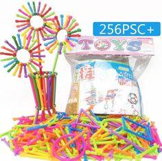 256Pcs Baby Plastic Intelligence Sticks Educational Building Blocks Toys Handmade DIY Montessori Baby Early Learning Gifts
