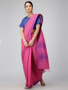 Pink-Blue Cotton Saree with Woven Border Stylish Sarees, Saris, Cotton Saree, Indian Sarees, Saree Blouse, Blouse Designs, Pink Blue, Blouses, Models