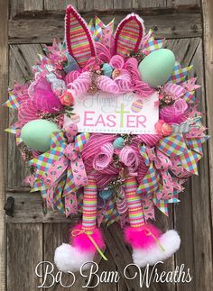 Reserved for Kristin, Easter Wreath, Happy Easter, Easter Party, Easter Swag, Spring Swag, Whimsical Easter Wreath, Door Decor, Easter Wreath, Bunny Wreath, Spring Wreath Hippity HOP Notice the details~ this one is packed with surprises all throughout~ from the gorgeous florals,