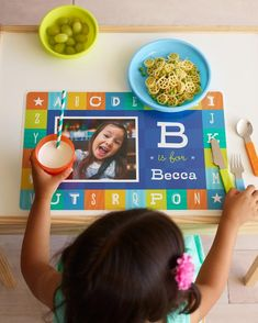 Make meal times exciting with personalized place mats for the kids. Help her learn her abc's with Shutterfly and gear up to head back to school.