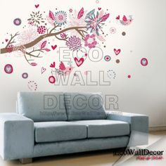 Pink Love Flowers Tree Branch | EcoWallDecor®