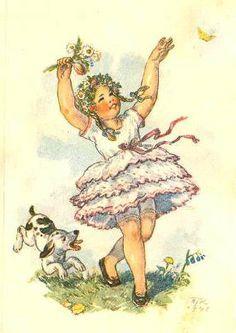 Marie Kvěchová-Fischerová 1948 Vintage Postcards, Vintage Images, Vintage Art, Vintage Antiques, Children Images, Antique Art, Vintage Children, Cute Drawings, Landscape Paintings