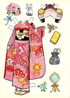 着せ替え人形 Japanese dress-up doll - Who remembers playing with this sort of paper doll and clothes ? Paper Dolls Book, Vintage Paper Dolls, Paper Toys, Papier Diy, Diy And Crafts, Paper Crafts, Art Origami, Paper People, Paper Dolls Printable